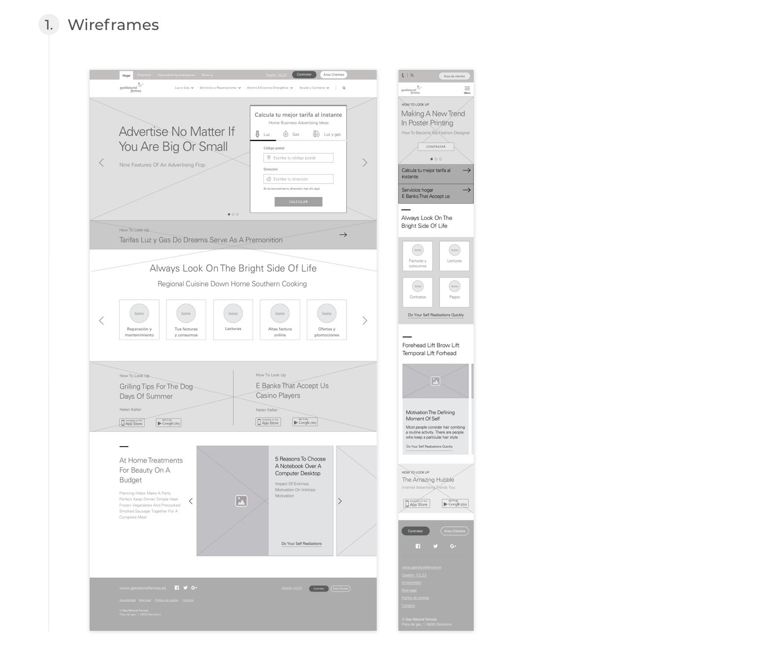 Naturgy, Design process - Wireframes