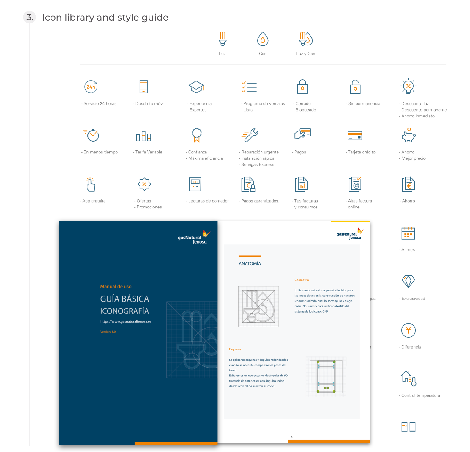 Naturgy, Design process - Icon library and style guide